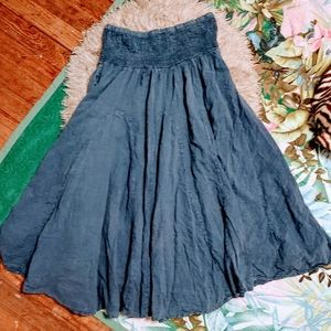 Vintage Boho Denim Full Flowey Cotton Skirt Sz S